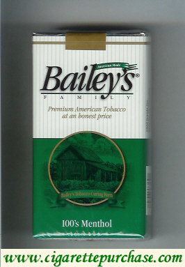 Bailey's Family 100s Menthol cigarettes