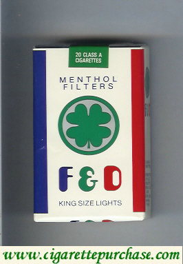 F&D F and D Menthol Filters King Size Lights cigarettes soft box