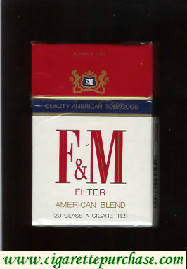 F&M F and M Filter American Blend cigarettes hard box