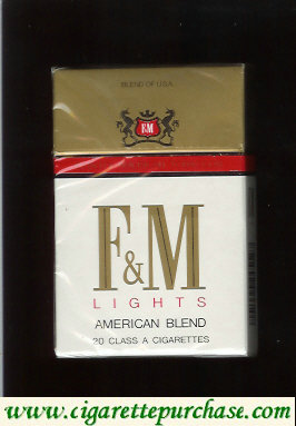 F&M F and M Lights American Blend cigarettes hard box