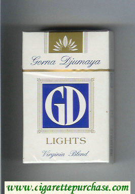 GD Gorna Djumaya Lights Virginia Blend white and blue cigarettes hard box