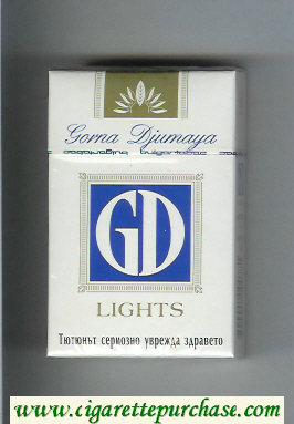 GD Gorna Djumaya Lights white and blue cigarettes hard box