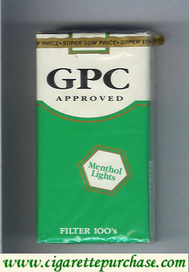GPC Approved Menthol Lights Filter 100s Cigarettes soft box