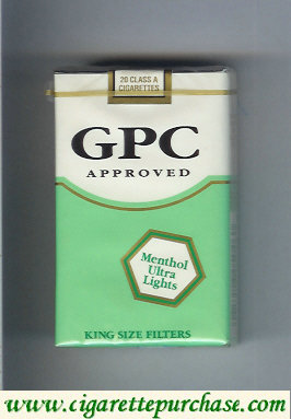 GPC Approved Menthol Ultra Lights King Size Filters Cigarettes soft box