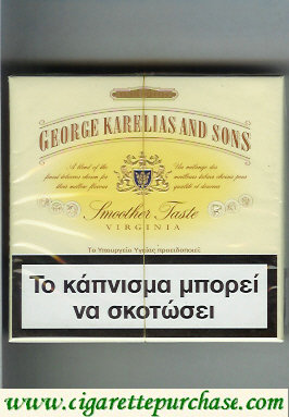 George Karelias And Sons Smoother Taste Virginia cigarettes wide flat hard box