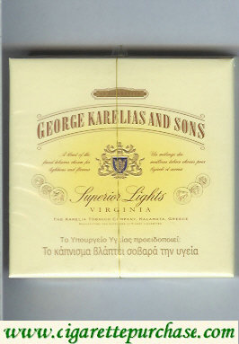 George Karelias And Sons Superior Lights Virginia cigarettes wide flat hard box