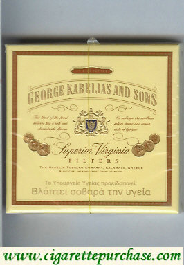 George Karelias And Sons Superior Virginia Filters cigarettes wide flat hard box