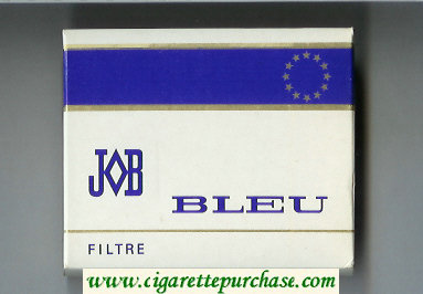 JOB Bleu Filtre white and blue cigarettes wide flat hard box