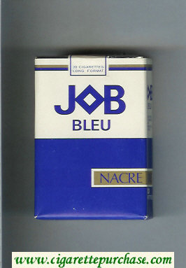JOB Bleu Nacre blue and white and gold cigarettes soft box