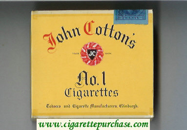 John Cotton's No 1 cigarettes wide flat hard box