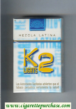 K2 Lights Mezcla Latina cigarettes hard box