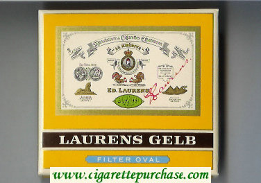 Laurens Gelb Filter Oval Cigarettes wide flat hard box