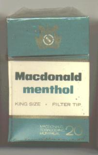 Macdonald Menthol cigarettes hard box