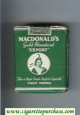 Macdonald's Gold Standard Export Finest Virginia green cigarettes soft box