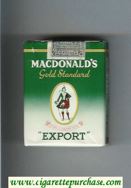 Macdonald's Gold Standard Export green and white cigarettes soft box