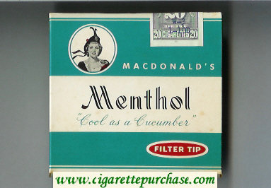 Macdonald's Menthol Filter Tip cigarettes wide flat hard box