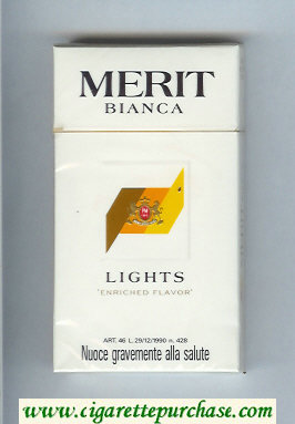 Merit Bianca Lights 100s cigarettes hard box