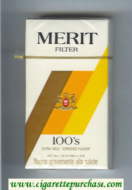 Merit Filter 100s cigarettes hard box