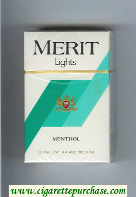 Merit Lights Menthol cigarettes hard box