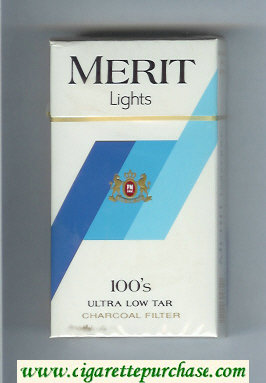 Merit Lights 100s cigarettes hard box