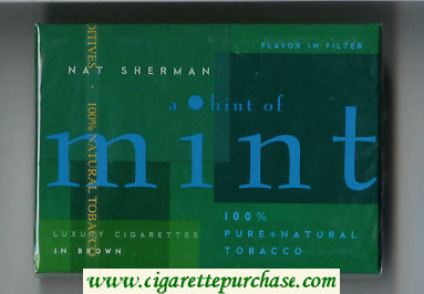 Nat Sherman A Hint of Mint Flavor in Filter cigarettes wide flat hard box