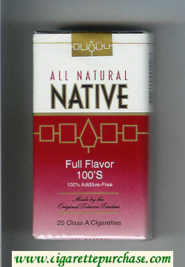 Native All Natural Full Flavor 100s 100 percent Additive-Free cigarettes soft box