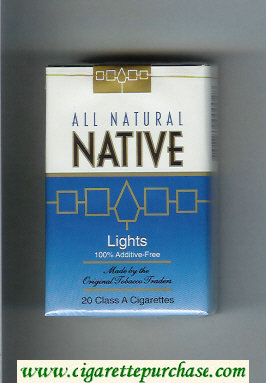 Native All Natural Lights 100 percent Additive-Free cigarettes soft box
