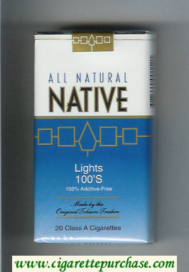 Native All Natural Lights 100s 100 percent Additive-Free cigarettes soft box