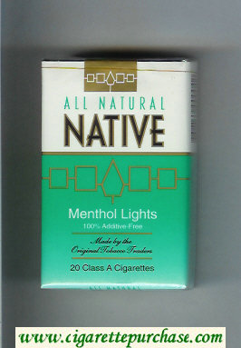 Native All Natural Menthol Lights 100 percent Additive-Free cigarettes soft box