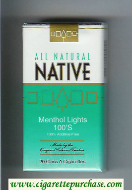 Native All Natural Menthol Lights 100s 100 percent Additive-Free cigarettes soft box
