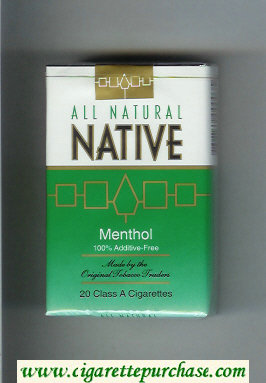 Native All Natural Menthol 100 percent Additive-Free cigarettes soft box