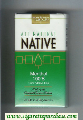 Native All Natural Menthol 100s 100 percent Additive-Free cigarettes soft box