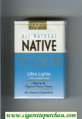 Native All Natural Ultra Lights 100 percent Additive-Free cigarettes soft box