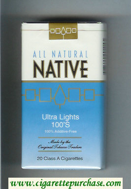 Native All Natural Ultra Lights 100s 100 percent Additive-Free cigarettes soft box