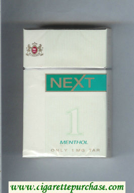Next Menthol white and green cigarettes hard box