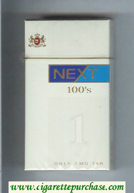 Next 100s white and blue cigarettes hard box