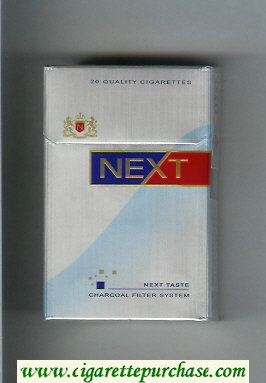 Next Next Taste silver and light blue and blue and red cigarettes hard box