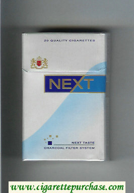 Next Next Taste silver and light blue and blue cigarettes hard box