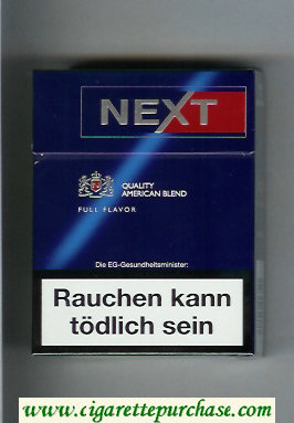 Next 24 Quality American Blend Full Flavor blue and red cigarettes hard box