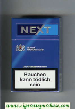 Next Quality American Blend blue and light blue cigarettes hard box