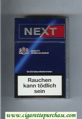 Next Quality American Blend Full Flavor blue and red cigarettes hard box