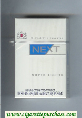 Next Super Lights white and blue cigarettes hard box