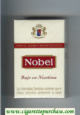 Nobel Bajo En Nicotina white and red cigarettes hard box