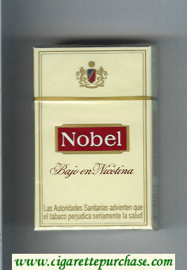 Nobel Bajo En Nicotina yellow and red cigarettes hard box