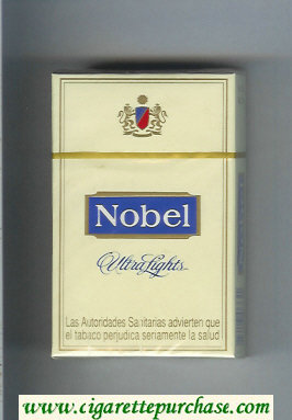 Nobel Ultra Lights yellow and blue cigarettes hard box
