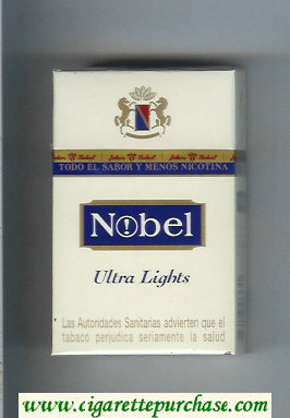 Nobel Ultra Lights white and blue cigarettes hard box