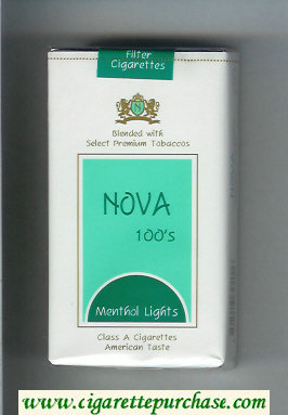 Nova 100s Menthol Lights cigarettes soft box