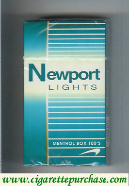 Newport Lights Menthol green and white 100s cigarettes hard box