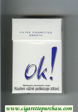 OK exclamation mark Smooth Filter cigarettes white and blue cigarettes hard box