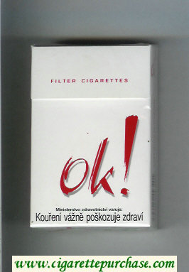 OK exclamation mark Filter cigarettes white and red cigarettes hard box